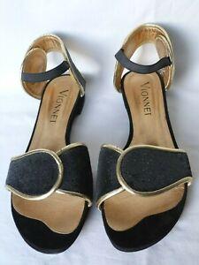 Vionnet Paris SHOES BLACK SEQUIN & GOLD LEATHER SUEDE Size 37  UK 4 SUPERB £617