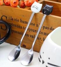2pcs Ceramic Stainless Steel Lucky Cat Spoons For Mug Demitasse Tea Desserts