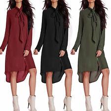 Women Plain Bow Lace Up Long Sleeve Blouse Top Ladies Boyfriend Mini Shirt Dress
