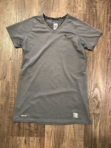 Nike Pro Fitted Youth L (12-14) Short Sleeve Gray Swoosh V- Neck T Shirt Fitted