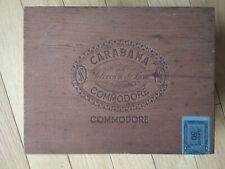 Vintage Wooden Cigar Box Carabana Commodore Seleccion de Luxe