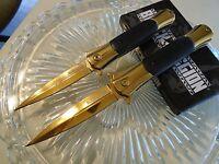 Black Legion Gold Chrome Cyclone Assisted Stilettos Dagger Pocket Knife 2 Pc Set