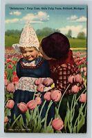 Holland MI, Nelis Tulip Farm, Dutch Children, Linen Michigan Postcard