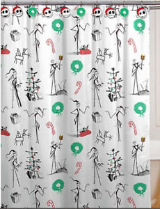 Nightmare Before Xmas Disney Santa Jack Skellington Bath Shower Curtain & Hooks