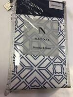 Natori Blue Porcelain 1 Standard Pillow Sham White NEW Geometric Design N