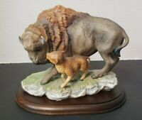 American Bison Figure 1994 Masterpiece Porcelain Homco Wood Base