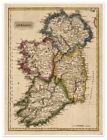 Large Elegant Irish Color Political Map of Old Ireland circa 1822 18 x 24
