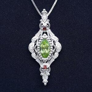 World Class 1.60ctw Peridot, Garnet & Diamond Cut White Sapphire 925 Pendant