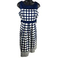 Motherhood Blue & White Polka Dot Sleeveless Dress Women's Size Medium