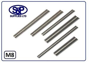 8MM (M8 - 8mm) STAINLESS STEEL THREADED BAR ALLTHREAD STUD FROM 100MM TO 350MM