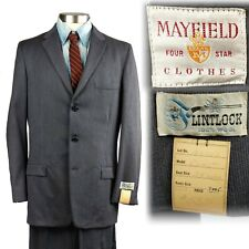 Vintage 1950s Deadstock Mayfield 3 Button Gray Suit 38 30x39 unhemmed