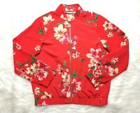 Susan Graver Women's Bright Red Floral Print Bomber Jacket Size XS