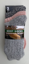 LADIES FLECK CHUNKY WOOL BLEND CUSHION SOLE HIKING BOOT SOCKS 3 PAIRS  SIZE  4-7