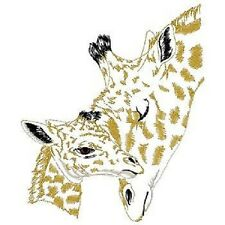 GIRAFFE MOM & BABY NEW SET OF 2 BATH HAND TOWELS EMBROIDERED BY LAURA