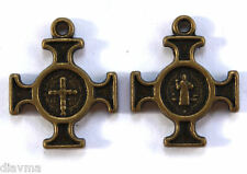 small bronze St Benedict Cross Medal Charm Christian