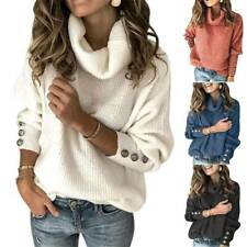 Womens High Roll Polo Neck Jumper Loose Sweater Tops Ladies Winter Knit Pullover