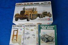 "Tamiya 1/35 German Half-Track ""FAMO""&Tank Transporter + ACCESSORY  set + BOOK"