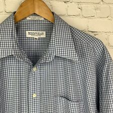 Men's Monsieur By Givenchy (16.5 32/33) Blue Tartan Long Sleeve Shirt