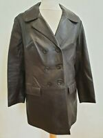 I443 WOMENS VINTAGE BROWN GESTAPO STYLE BROWN LEATHER JACKET UK XL 14-16 EU 44