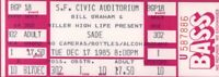 SADE 1985 PROMISE TOUR UNUSED SAN FRANCISCO CIVIC AUDITORIUM CONCERT TICKET
