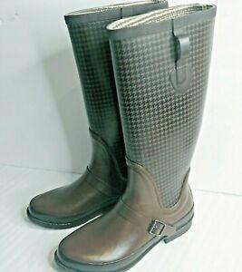 L.L. Bean Wellies Womens Size 10 Tall Rain Boots Brown Houndstooth Print 162203