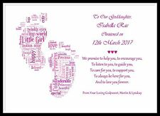Personalised Christening Poem gift Godchild Godparent Godmother Word Art Baby