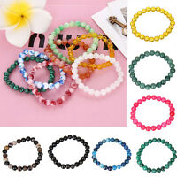 Natural Stone Jade Round Beads Stretch Bracelet For Lucky Women Gift 67 Colors