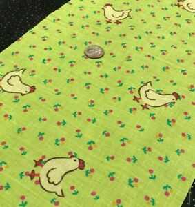 "Yellow Chickens*Small Red&Yellow Posies on Lime Green*100% Cotton Remnant 22""x8"""