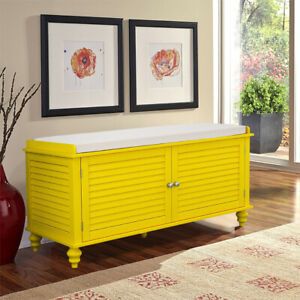 Hallway Shoe Bench with 2 Door Storage Window Seat Cabinet Ottoman Free Cushion