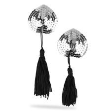 SEXY SILVER BURLESQUE MOULIN ROUGE SEQUIN NIPPLE TASSLE/TASSEL COVER