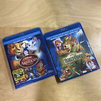 LOT (2) Disney Aristocats & Robin Hood Blu-ray DVD + Digital US Region Fast Ship