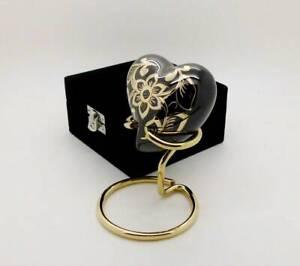 Solid Brass Elegance Flower Heart Style Cremation Funeral Urn + Stand + Case NIB