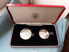 874 - 1974 ICELAND silver proof 1000 & 500 Kronur twin set SEDLABANKI ISLANDS