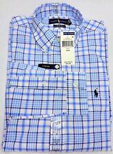New Mens Polo Ralph Lauren Med 34/35 Long Sleeve Blue White 100% Cotton Stretch