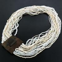 EXOTIC HANDMADE PEARL WHITE BEIGE WOOD BUCKLE SEED BEAD necklace