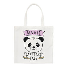 Beware Crazy Panda Lady Regular Tote Bag Funny Animal Cute Shoulder