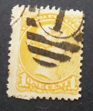 "1870-93 1¢ YELLOW Small Queen Victoria Scott #35 Cancel ""1"""