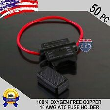 50 Pack 16 Gauge ATC In-Line Blade Fuse Holder 100% OFC Copper Wire Protection