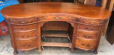 Victorian Large Carved Oak Kidney Shaped Desk