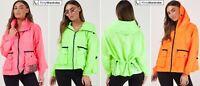Hooded Rain Festival Jacket Neon Wind Breaker Parka Waistcoat Womens New SM ML