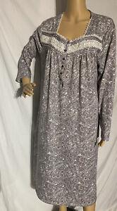 SECRET TREASURES Gray, Pink, White Paisley Print Long Sleeve Nightgown XL