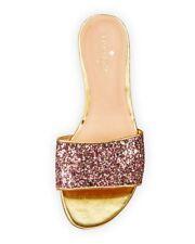 KATE SPADE New York Madeline Glitter Slides Flats Sandals Rose Gold Multi ( 10 )