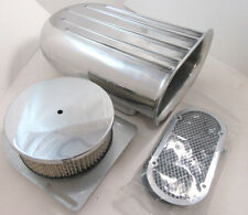 Polished Aluminum Hilborn Style 5 Fin Air Scoop Kit Single 4 BBL Carb SBC BBC