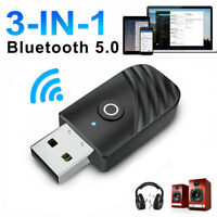 Wireless USB Bluetooth 5.0 Audio Transmitter Receiver 3in1 Adapter For PC TV Car
