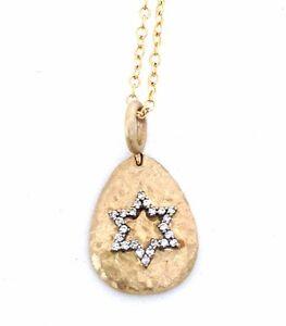 .10 CTS Diamond Star of David 14k Yellow Gold Hammered Tear Drop Pendant w/Chain