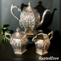Antique Barbour Silver Co. Silver Plated Tea Set Dutch Repousse Scenes 3 pcs Set
