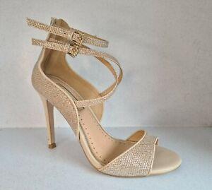 Carvela By Kurt Geiger Gold Sparkly Zip Back Ankle Strap Sandals UK3 EU36 VGC