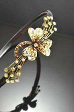Antique Gold Flower Decor Metal Citrine Color Brown Crystal Hair Band Headband