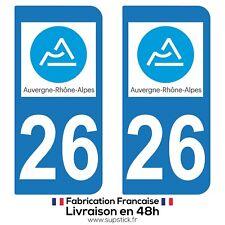 2 STICKERS AUTOCOLLANT PLAQUE IMMATRICULATION DEPT 26 Auvergne-Rhône-Alpes
