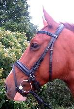 Fss English Slimline Comfort Padded Crown Crank Flash Combined Bridle Blk Horse